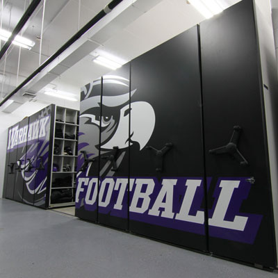 High-Density Mobile Shelving for Football Equipment Room Storage
