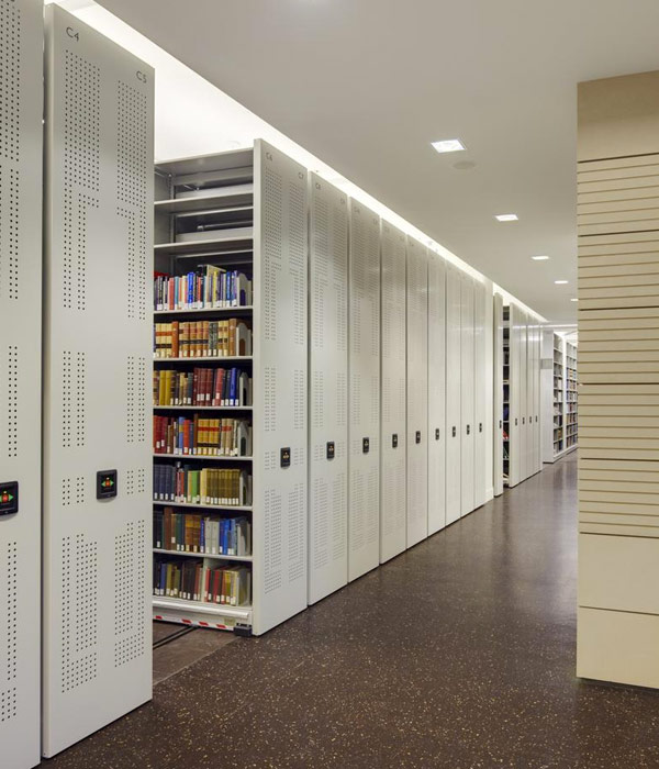 Library compact shelving