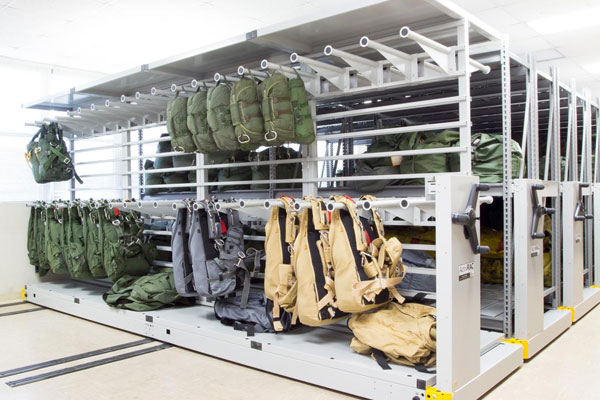 Military Gear Storage on Heavy-Duty Mobile Shelving