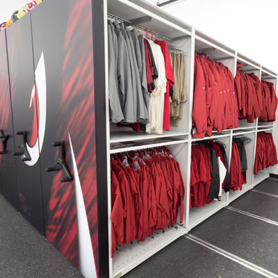 Athletic Equipment Storage on High-Density Mobile Storage