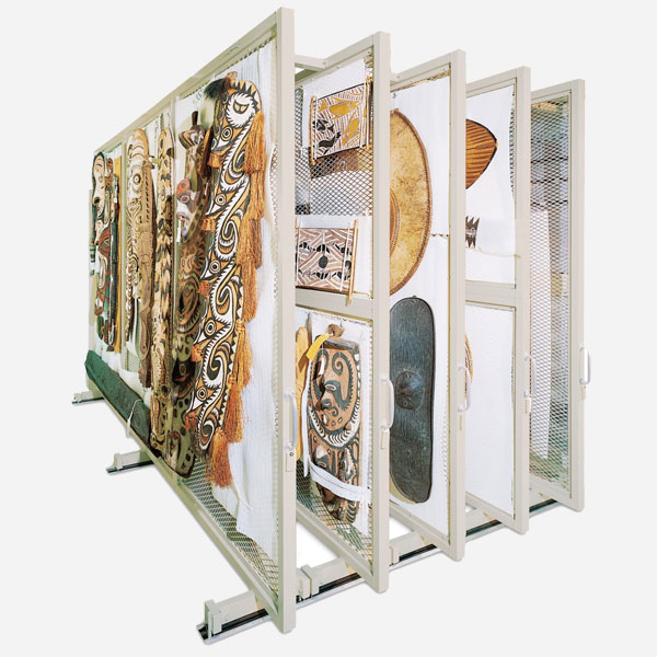 Compact Museum Shelving Mobile Art Rack
