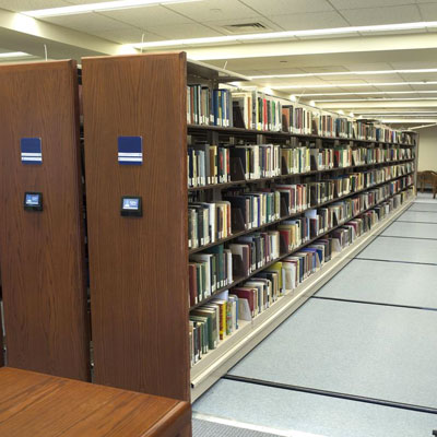Library Shelving on High-Density Mobile Storage System