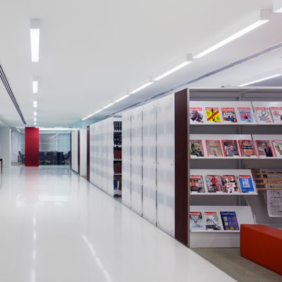 Library Shelving on High-Density Mobile Storage
