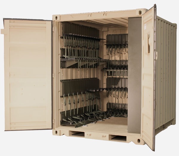 Mobilized arms room with modular weapons storage in Tricon