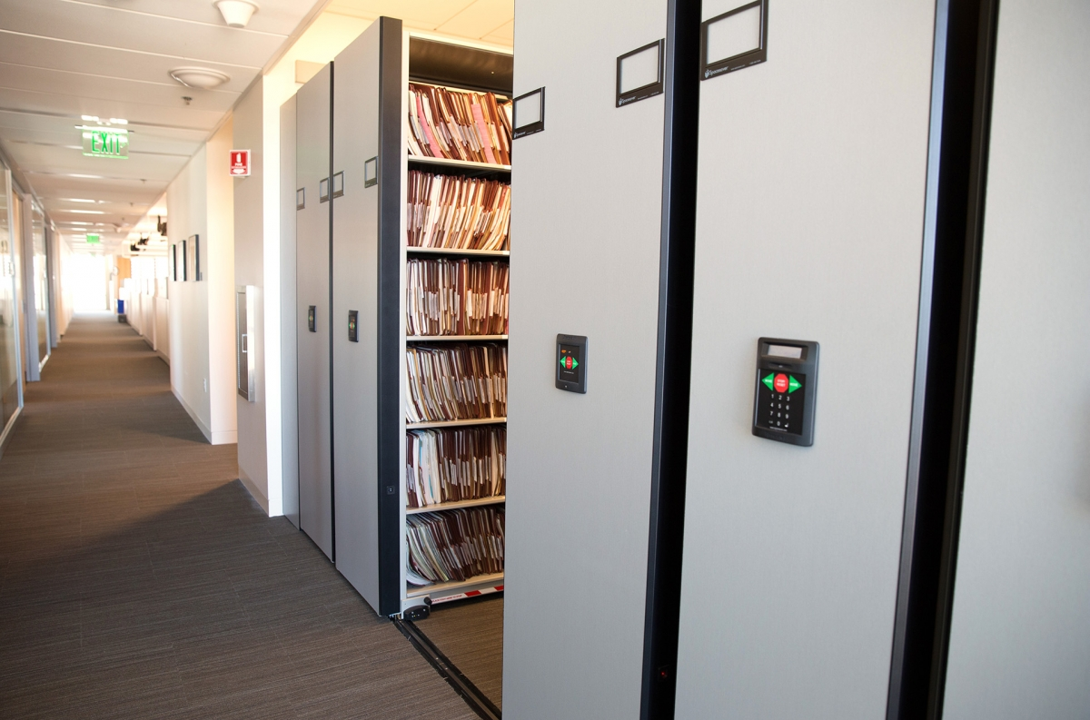 File storage on compact mobile shelving at San Francisco Police Department
