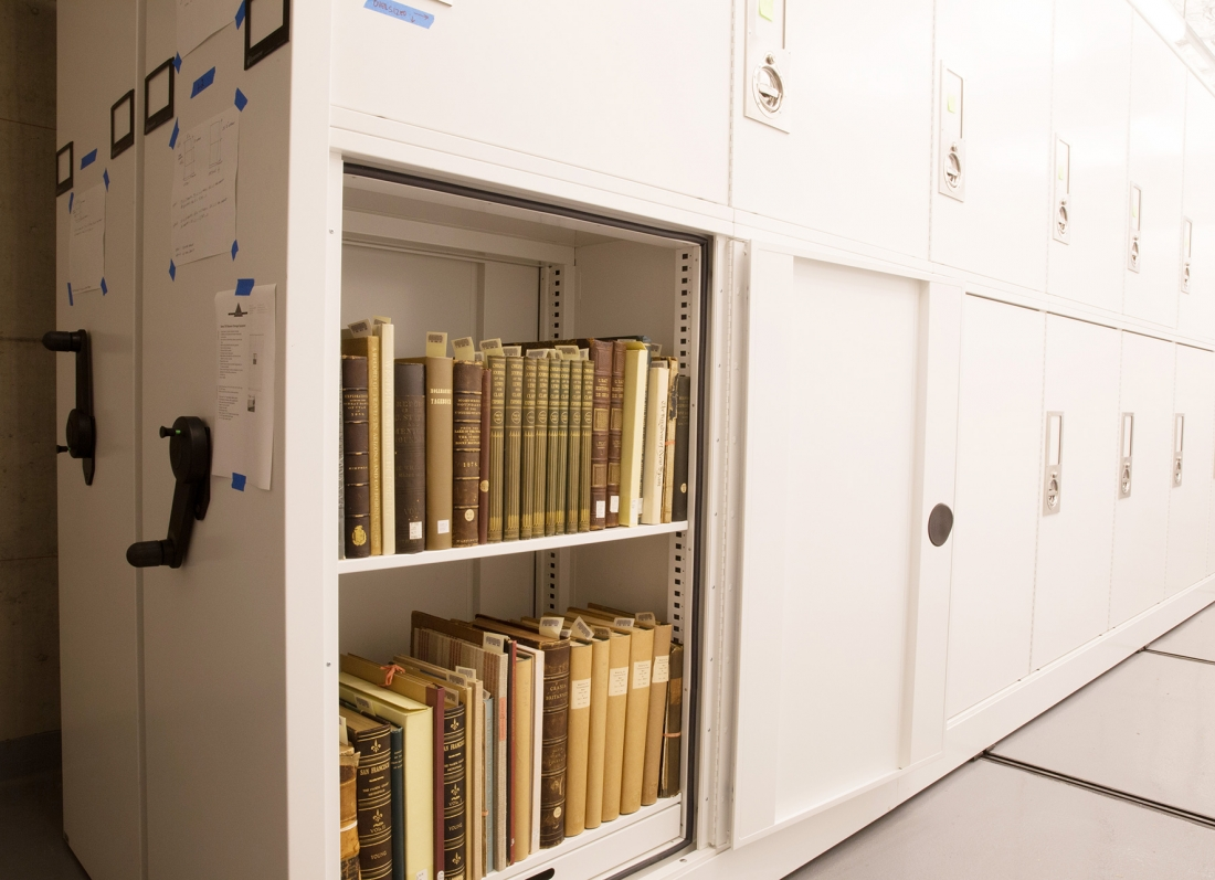Rare book storage on shelves in cabinet California Academy of Sciences