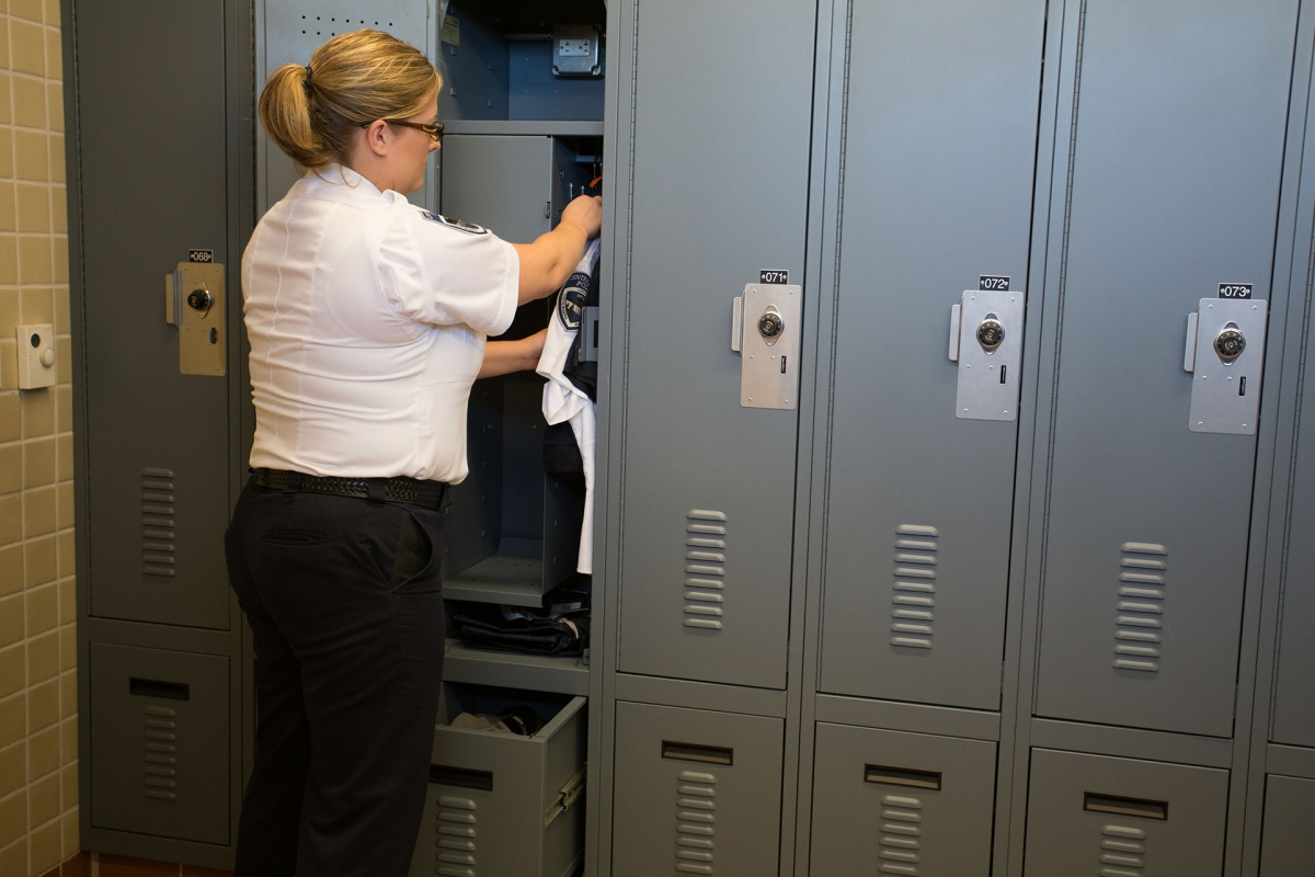Single door access with combination lock and drawer for personal gear storage at Central Marin Police Department