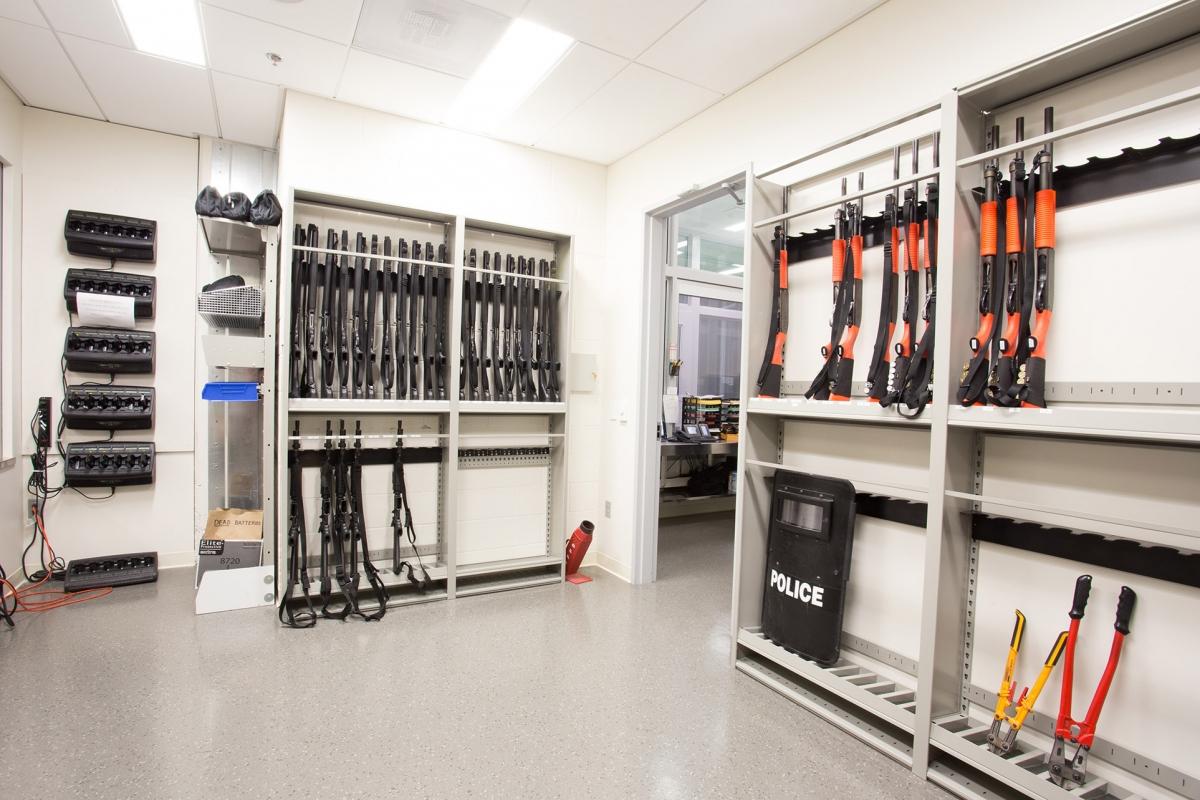 Weapons room storing riot gear, guns and tasers at San Francisco Police Department