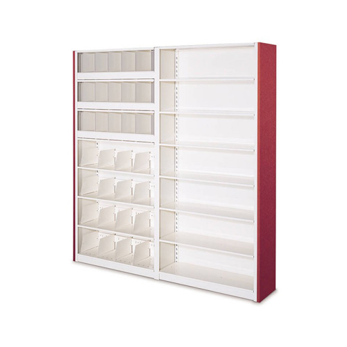 4-post shelving with bin dividers
