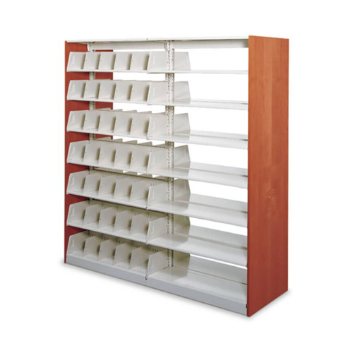 Cantilever library shelving with dividers